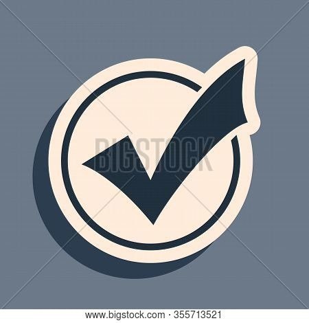 Black Check Mark In Round Icon Isolated On Grey Background. Check List Button Sign. Long Shadow Styl