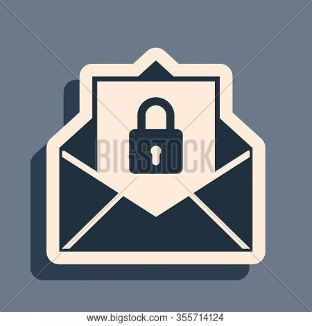 Black Secure Mail Icon Isolated On Grey Background. Mailing Envelope Locked With Padlock. Long Shado