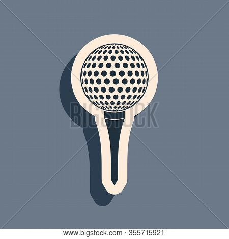 Black Golf Ball On Tee Icon Isolated On Grey Background. Long Shadow Style. Vector Illustration