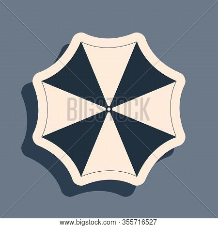 Black Sun Protective Umbrella Fo Beach Icon Isolated On Grey Background. Large Parasol For Outdoor S