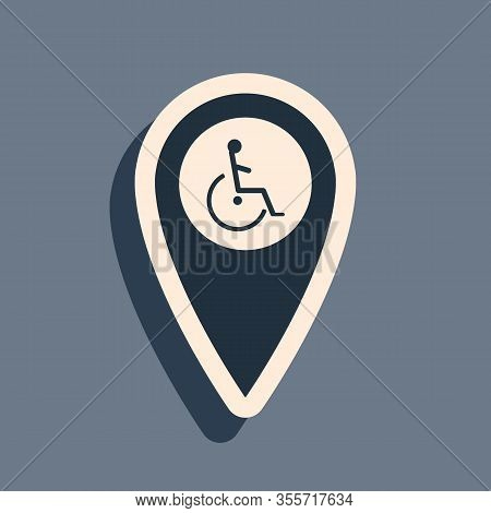 Black Disabled Handicap In Map Pointer Icon Isolated On Grey Background. Invalid Symbol. Wheelchair