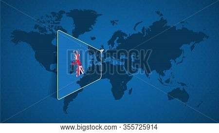 Detailed World Map With Pinned Enlarged Map Of United Kingdom And Neighboring Countries. United King