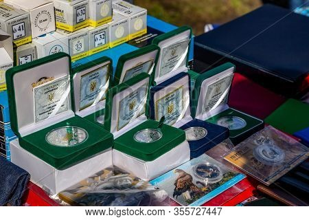 Khmelnitsky. Ukraine. March 15, 2020. Collectible Coins In The Antique Market.