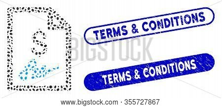 Mosaic Invoice Page And Distressed Stamp Seals With Terms And Conditions Phrase. Mosaic Vector Invoi