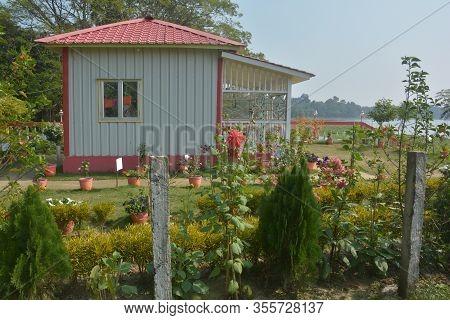 Panchita, Bangaon, West Bengal, India, 25 January, 2020: Close Up Of A Small Prefabricated House Wit