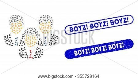 Mosaic Customers And Rubber Stamp Seals With Boyz Exclamation Boyz Exclamation Boyz Exclamation Text