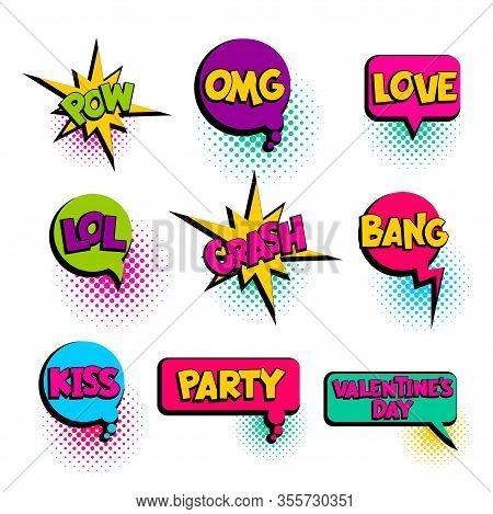Pow Omg Love Party Kiss Lol Speech Bubble Comic Text