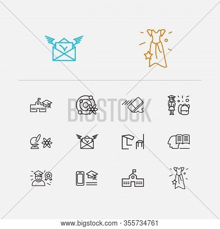 Distant Education Icons Set. Eraser And Distant Education Icons With Self Study, Astrophysics And Be