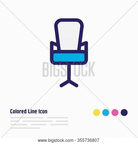 Vector Illustration Of Office Chair Icon Colored Line. Beautiful Office Element Also Can Be Used As