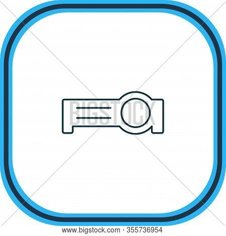 Vector Illustration Of Floodlight Icon Line. Beautiful Laptop Element Also Can Be Used As Presentati