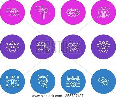 Vector Illustration Of 12 Emoji Icons Line Style. Editable Set Of Success, Pessimistic, Unsatisfied