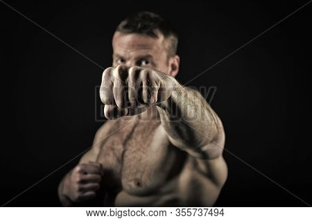 Fist Of Athlitic Man With Muscular Body. Knockout And Punch, Power. Coach Sportsman Fighting Isolate