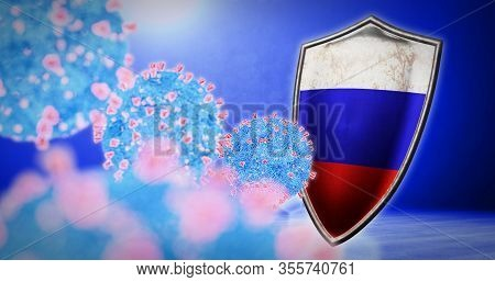 Fight Of The Russia With Coronavirus - 3d Render