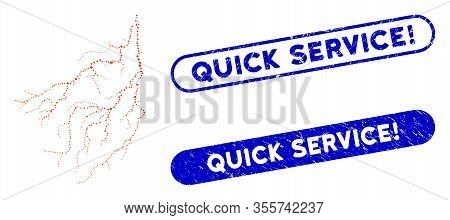 Mosaic Lightning And Grunge Stamp Seals With Quick Service Exclamation Text. Mosaic Vector Lightning