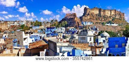 Travel and landmarks of India. beautiful blue city of Rajastan -Jodhpur. Panoramic view with great Mehrangarh fort
