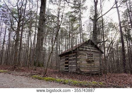 A Secluded Old  Cabin In The North Carolina Woods In Winter