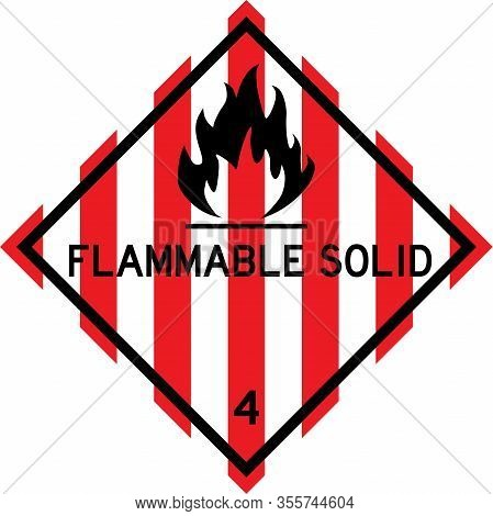 Flammable Solid Sign. Dangerous Goods Placards Class 4. Perfect For Transport Vehicles, Backgrounds,
