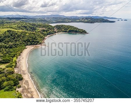 Aerial Shot Of The Tropical Beach Playa Arenillas In Costa Rica In Peninsula Papagayo Coast In Guana