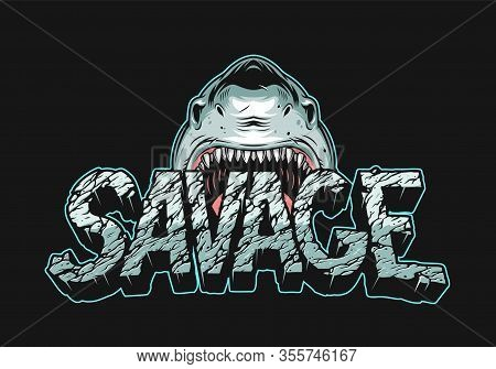 Colorful Angry Shark Holding Savage Lettering With Cracked Dry Land Texture In Vintage Style Isolate