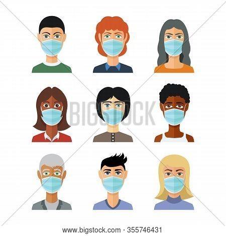 Avatars In Medical Masks. Vector In Flat Style. Pandemic Stop Novel Coronavirus Outbreak Covid-19 20