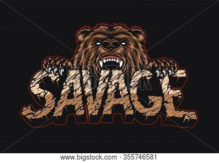 Desert Style Savage Vintage Lettering Template With Ferocious Bear Holding Word Isolated Vector Illu