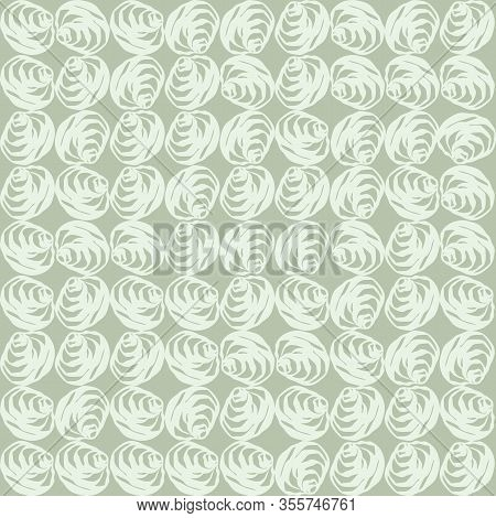Hand Drawn Elegant Rose Bloom Seamless Pattern. Vector Painterly Organic Flower Mosaic On Mint Green