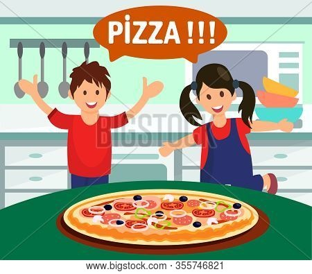 Children Enjoying Pizza Flat Vector Illustration. People Getting Food Delivery. White Text In Speech