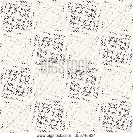 Monochrome Broken Glitch Mosaic Texture Background. Distressed Diagonal Dashed Line Dotted Seamless