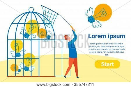 Collecting Ideas Flat Vector Landing Page Template. Cartoon Man With Butterfly Net Keeping Winged Li