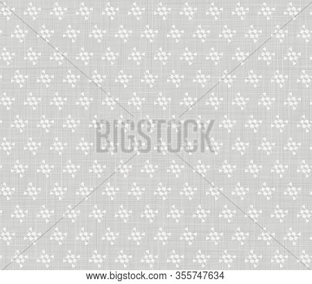 Natural Grey French Woven Linen Texture Background. Vintage Printed Dot Motif Seamless Pattern. Orga