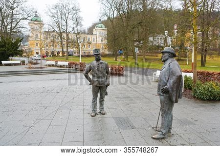 Marianske Lazne, Czechia - February 20, 2020: Statues Of Edward Vii, British King, And Emperor Franz