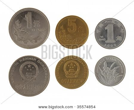 Set of Chinese Yuan coins isolated on white