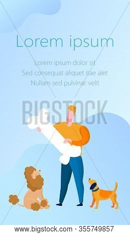 Man Dog Trainer With Bone And Two Dogs On Blue Background. Advertising Image With Text. Poodle On Be