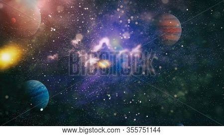 Cosmic Background . Stars Of A Planet And Galaxy In A Free Space. Elements Of This Image Furnished B