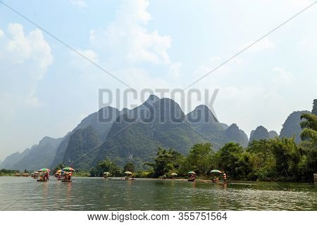 River Rafting In The Yangshuo Mountains, Tourism In China