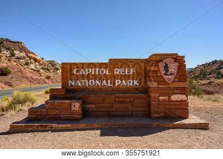 Capitol Reef National Park, United States: October 5, 2019: Capitol Reef Sign From Straight On At En