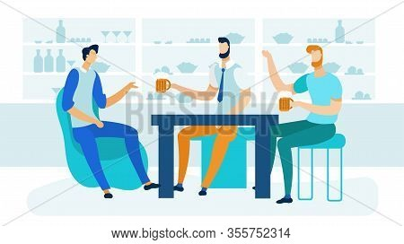 Friends Sitting In Tavern Flat Vector Illustration. Buddies Sitting Behind Table In Pub Cartoon Char