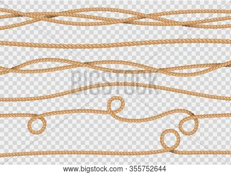 Rope Decor. Realistic Jute Cords Marine Navy Cord, Lasso Line. Vector Illustration Marine Sailor Str