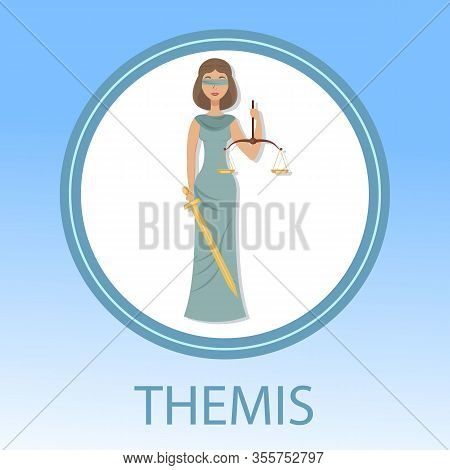 Judicial System Flat Social Media Banner Concept. Blindfolded Woman Holding Sword And Scales Cartoon