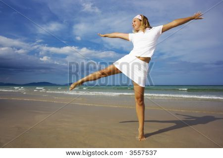 Woman On The Beach. Healthy Lifestyle