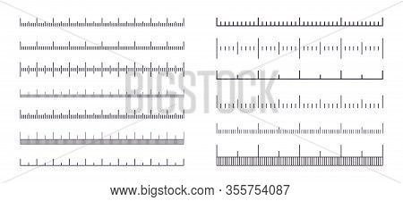 Measure Scale. Ruler With Meter, Centimeter Or Inch Marks, Line Length Graphic With No Numbers. Vect