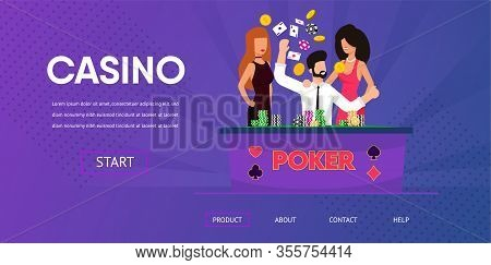 Happy Lucky Man Win Money Poker Beautiful Woman Near Casino Gamble Table Chip Tokens Vector Illustra