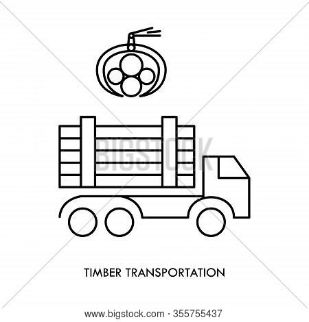 Timber Carrying Vessel. Special Cargo Vehicle For Timber Transportation. Logging Operations. Pile Of