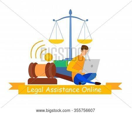 Notary Online Service Web Banner Vector Template. Legal Assistance, Lawyer Cartoon Character. Jurisp