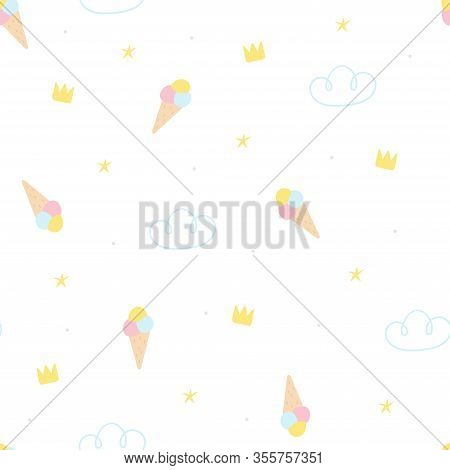 Seamless Childish Pattern With Ice Cream. Creative Scandinavian Kids Texture For Fabric, Wrapping, T