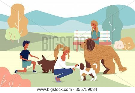 Happy Pets Owner Family On Walk With Dogs In City Park Or Forest Cartoon. Smiling Mother And Childre