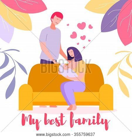 Breastfeeding Nutrition Of Newborn Baby. Young Mother Sitting On Sofa Giving Breast To Child For Eat