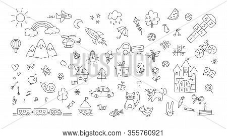 A Set Of Children Drawings. Kid Doodle. Sun And Rainbow Over The Mountains, Knight Castle, The Boat