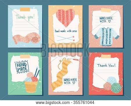 Needlework Hand Made Card Templates. Vector Illustration