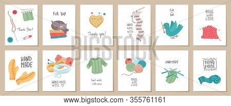 Set Of Needlework Hand Made Card Templates. Vector Illustration